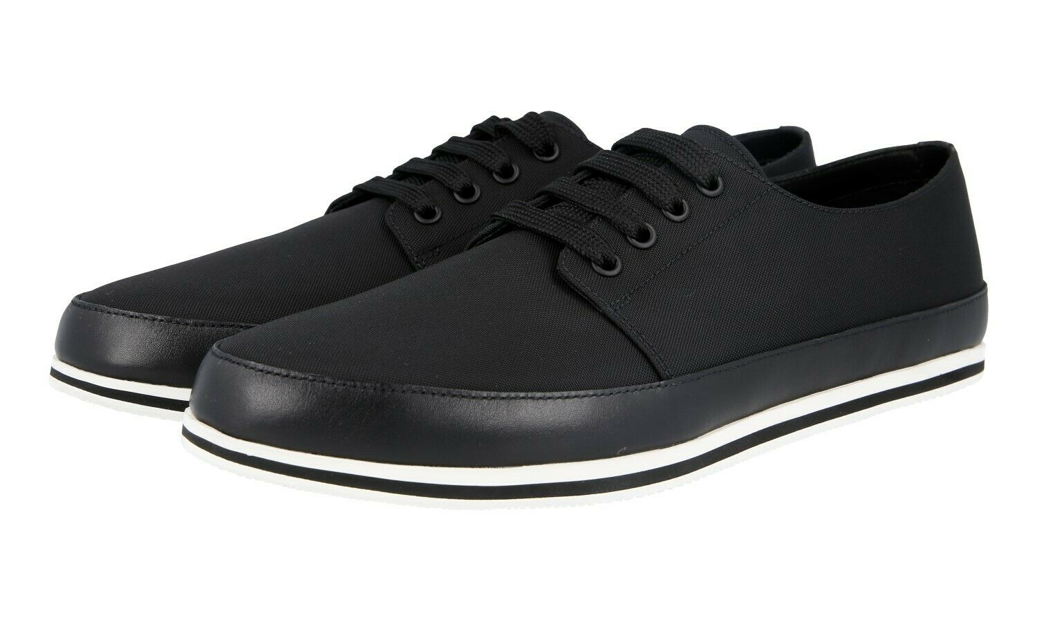 AUTH PRADA LACE-UP SHOES 4E3260 BLACK NYLON + LEATHER NEW US 10 EU 43 43,5