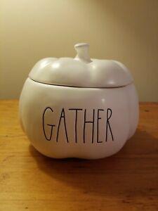 "Rae Dunn New LL Pumpkin ""GATHER"" Candy Dish Fall Holiday Dish"