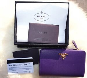 9c50f2fd94d5 Image is loading Prada-Saffiano-Compact-Wallet-Viola-Purple-Limited-Edition-