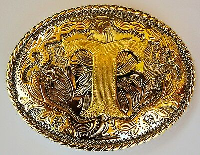 """Initial /""""I/"""" Letter Large Gold /& Silver Rodeo Western Cowboy Metal Belt Buckle"""