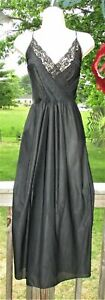 Vintage-Long-Black-Nylon-NIGHTGOWN-GOWN-sz-S-Negligee-Orweco-Frocks-Lingerie