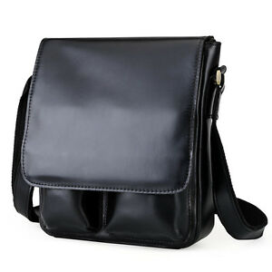 Men-039-s-Real-Leather-Casual-Messenger-Shoulder-Crossbody-Satchel-School-Bag-Black