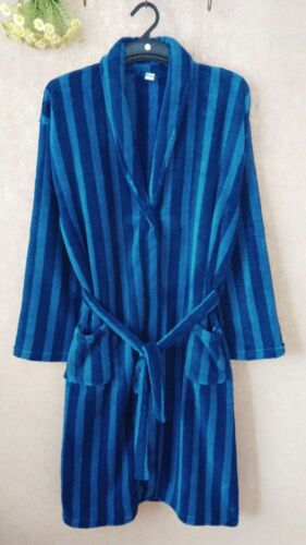 Gowns Soft Mens Coral Bath Fleece Blue Robe Coral Dressing Strips Luxury Super USx0dzqq