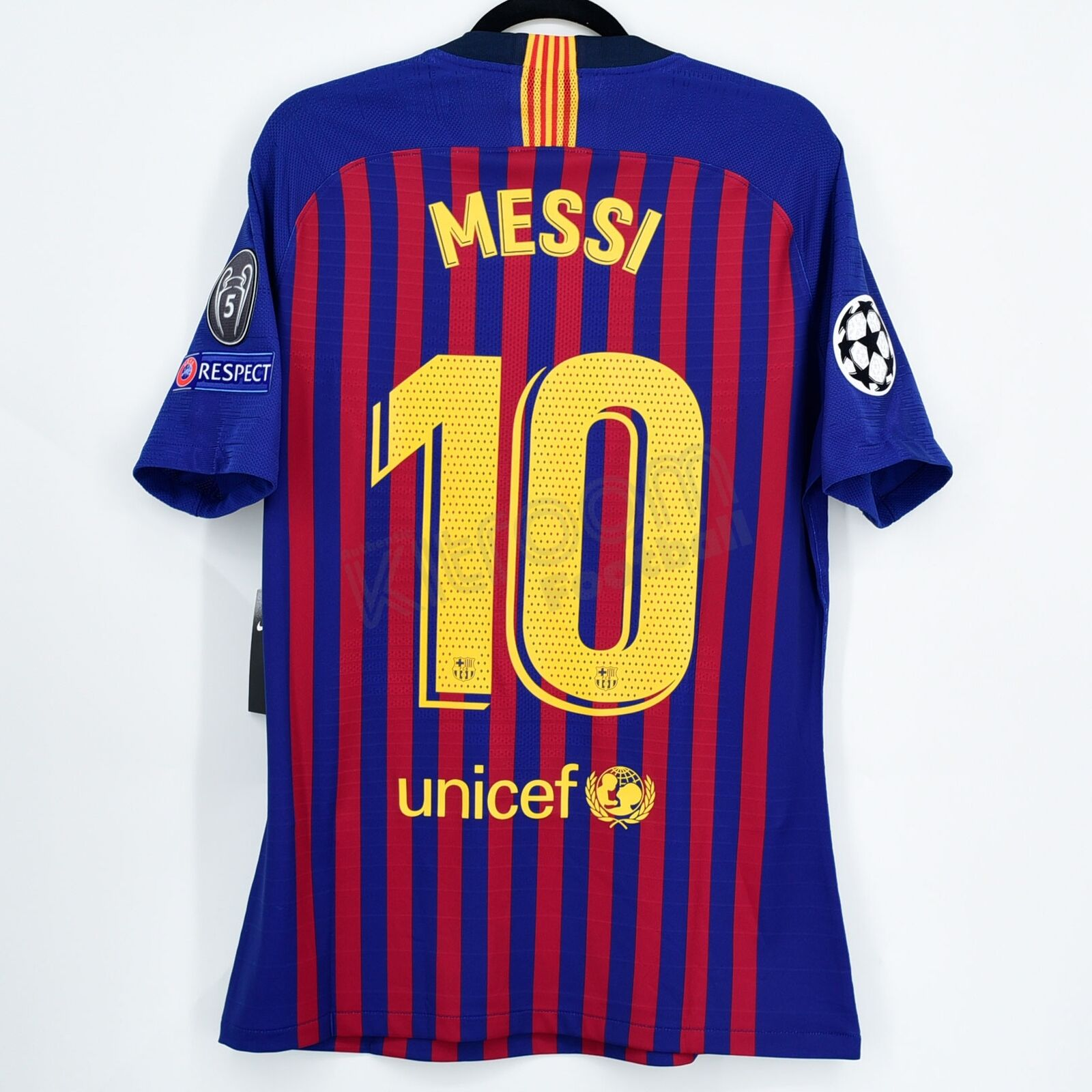 201819 Barcelona Player Issue Home Shirt  10 MESSI Champions League M Jersey
