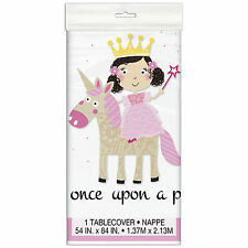 """54""""x84"""" Pink Princess Unicorn Children's Birthday Party Plastic Table Cover"""