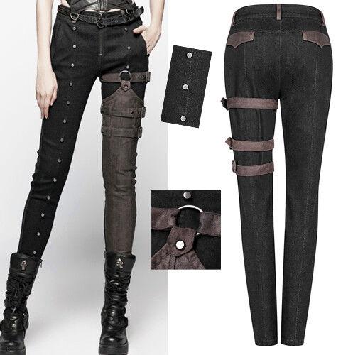 Lolita Punk Cuir Jeans Clouté Punkrave Steampunk Pantalon Zip C Gothique Sangle PIFXAxnq