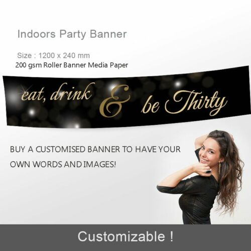 Customized 30th Birthday Gift Canvas Eat Drink Party Banner Party Decorations