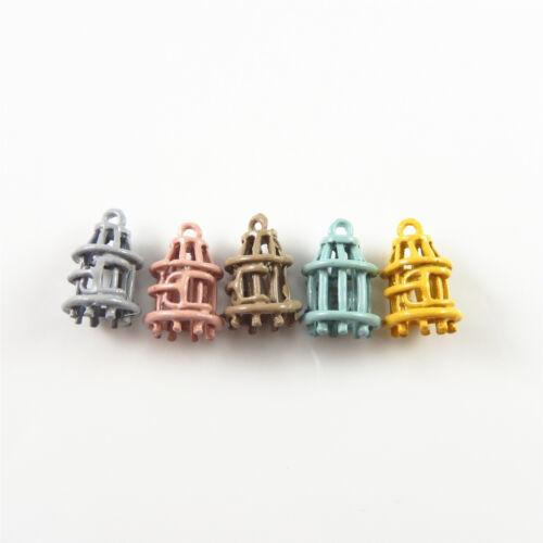 5 Pcs Multi-couleurs 3D Cage à oiseaux charme peint Alliage Pendentif Findings 12x18 mm