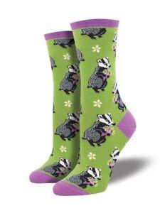 Green-Black-White-Badger-Socks-Ladies-Christmas-Secret-Santa-Socksmith-Gift-New