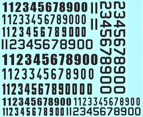 Los números de inicio cifras negro start numbers Black 6,5-9,0 mm 1:43 decal estampado
