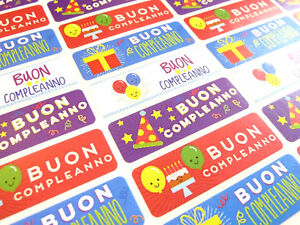 Buon Compleanno Italian Happy Birthday Labels Stickers For Cards Hb