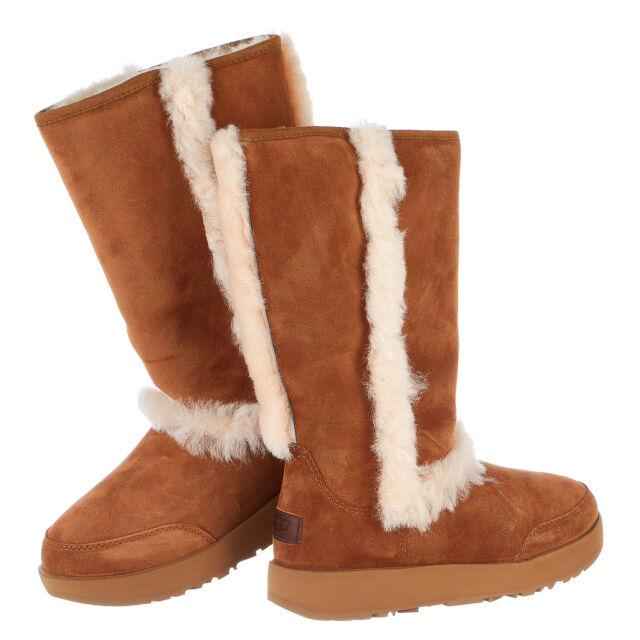 70fd7dd521c UGG Sundance Waterproof Chestnut Suede Sheepskin Tall Womens BOOTS Size US 7