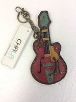 Chala Red Guitar Faux Leather Key Chain Coin Purse