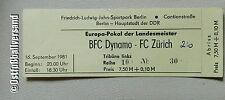 Ticket BFC Dynamo Berlin FC Zürich 16.9.81 DDR Eintrittskarte Schweiz Suisse