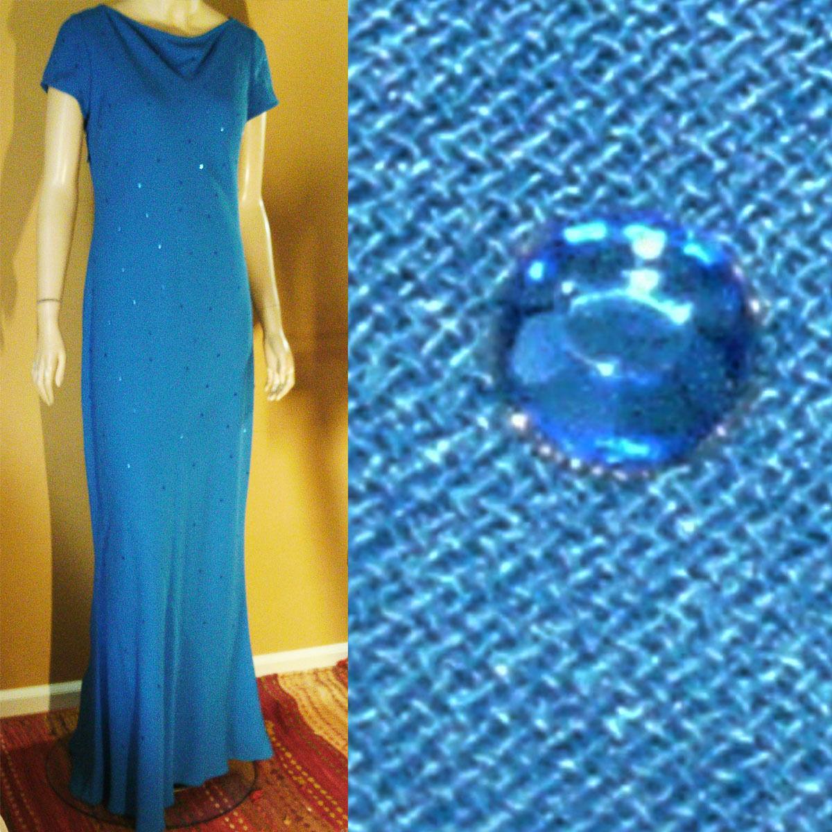 Neu Maxi Kleid 8 Ozean Blau Gepunktet mit Pailletten von Cheeta B Robe Formelle