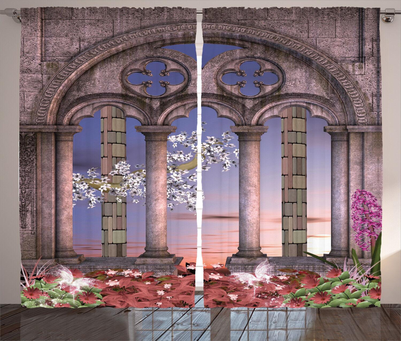 Cortinas Gótico jardín secreto Cuento de Hadas Ventana Cortinas 2 pulgadas Panel Set 108x84