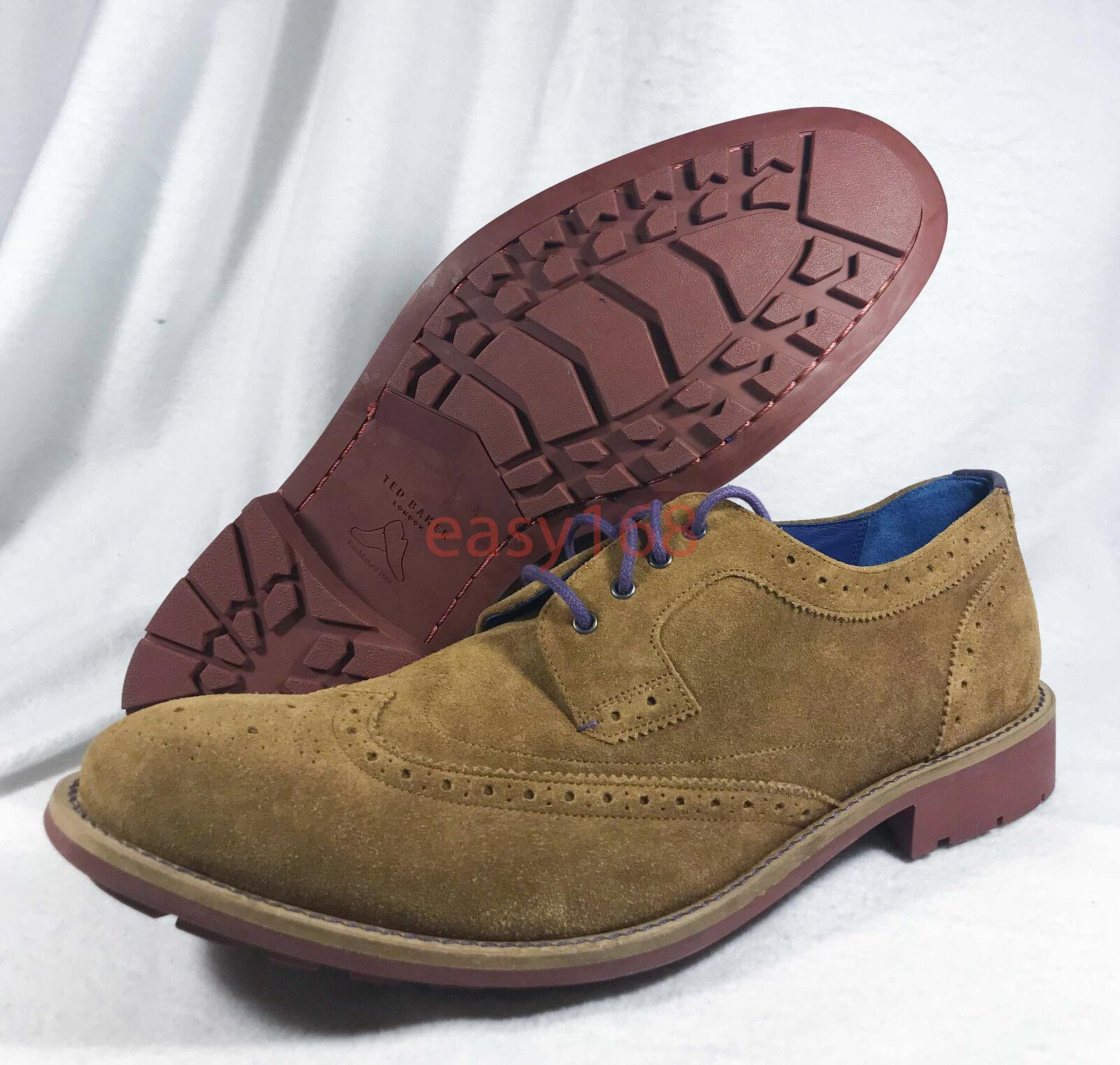 Nouveau Ted Baker Hontaar Sz 10.5 Marron Bout D'Aile Oxford Chaussures 46 cuir daim
