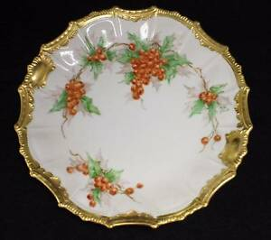Hand Painted China Signed Plate with Holly Leaves and Berries