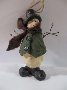 "Primitive Folk Art Paper Mache Snowman 4.5""  with scarf and Painted Cloth Vest F"
