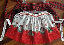 Lot of 2 Vintage CHRISTMAS APRONS 1950?s 1960?s Santa Claus Plaid Velvet