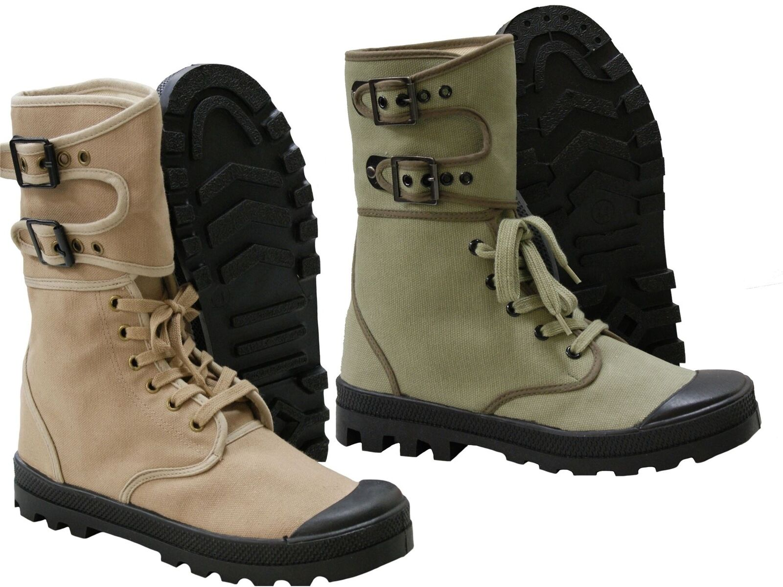 New French Ranger Boots Lace Up Canvas Army Footwear