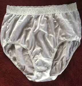 d467d0765 Fruit Of The Loom White Nylon Shiny Satin Granny Panties Size 7 ...