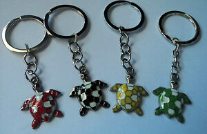 LOVELY-SILVER-YELLOW-RED-BLACK-GREEN-ENAMEL-TURTLE-KEYRING-FREE-POST-IN-OZ