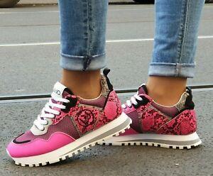 LIU JO Schuhe RUNNING 6 FUXIA Pink Leder Mesh Damen Sneaker Made in Italy