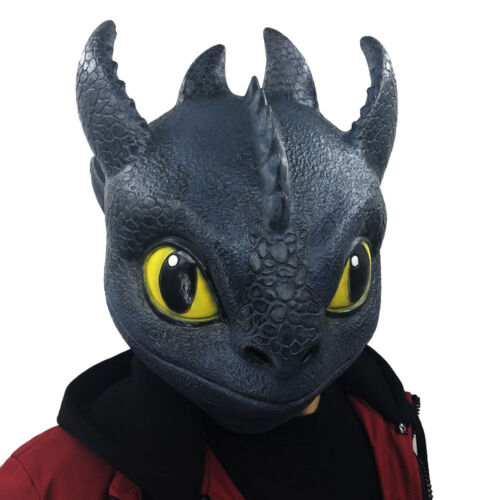 Black Latex Mask How to Train Your Dragon Night Fury Mask Helmet Cosplay Props