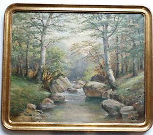 PAYSAGE de FORÊT Huile sur toile Signée ERLER fritz ? 1868 1940 CADRE