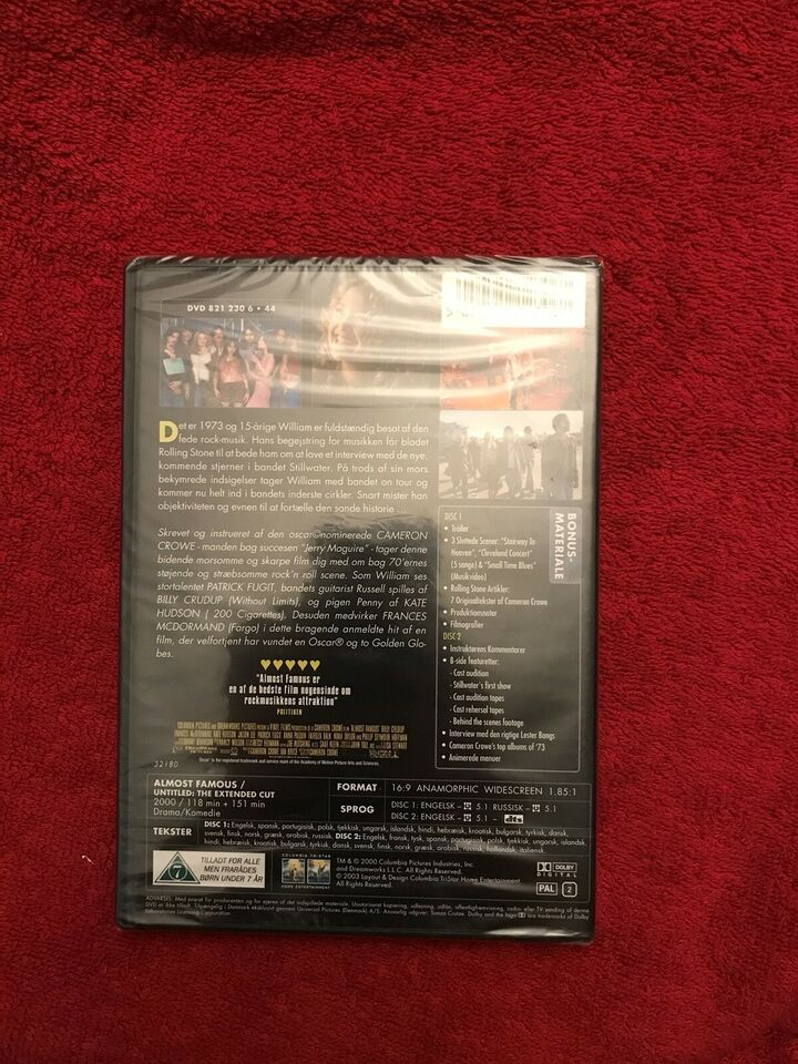 Almost Famous Unitled : The extended cut, DVD, action