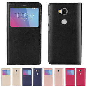 quality design 85a11 fbfe8 Details about Smart Leather Window View Shockproof Flip Case Cover For  Huawei Honor 5X 6X 8