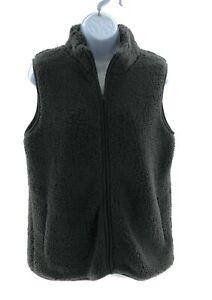 Sabrina Lauren Womens Gray Faux Fur Sleeveless Vest Winter Size Small