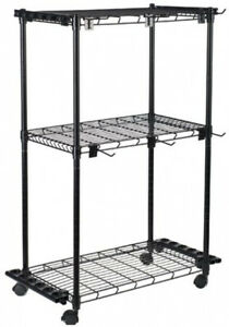Fishing Rod Storage Rack Organizer Reel Tackle Box Hook Rolling Cart Gear Ebay
