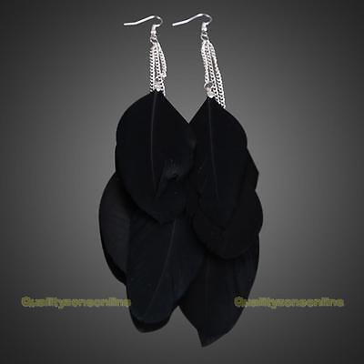 European Style Exotic Three Plumage Tassel Girl Long Earrings
