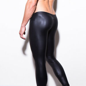 ebdebf5a006d Men's Faux Leather Skinny Pants Latex Streath Leggings Gay Trousers ...