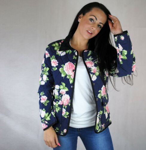 WOMENS FLORAL QUILTED COAT BOMBER STYLE JACKET NAVY W CHORD COLLAR STRIPE INNER