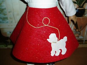 Sparkly Red & White Poodle Skirt Doll Clothes Fit American Girl Dolls
