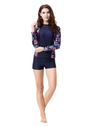 Summer Swimming Swimwear Women Short Sleeve Tops+Pant Lady New Swimsuit Swim Set