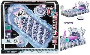 Monster-High-Doll-Abbey-Bominable-BED-of-ICE-Dead-Tired-Add-On-Furniture-PlaySet