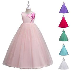 Enfants princesse robe de mariage fête demoiselle d/'honneur Fleur Fille Longue Maxi Mousseline Robe