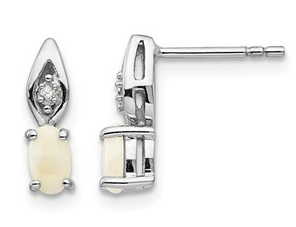 Natural Opal Stud Earrings in in 14K White gold
