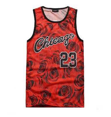 2015 New Men's sports Basketball 3D Rose  tank tops cotton loose sleeveless vest