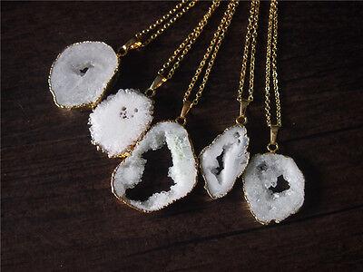 Quartz Crystal Cluster White Gemstone Raw Rough Gemstone Pendant Necklace