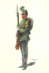 Illustration J.Demart Militaria Belgien Chasseurs Fuß 1914