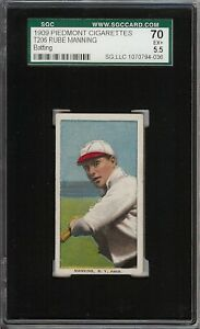 Rare 1909-11 T206 Rube Manning Batting Piedmont 150 New York SGC 70 / 5.5 EX+