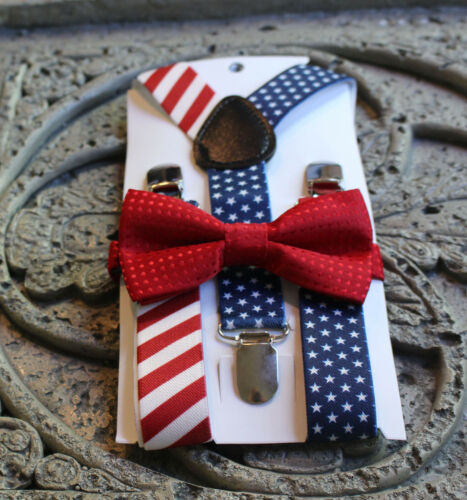 USA flag suspenders,red kids bow tie 6mo 12 m 2T 3T 4T 5T boy 4 july patriot