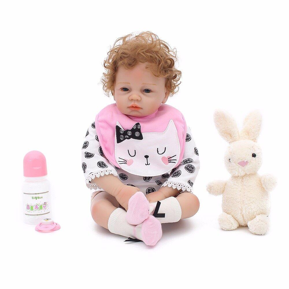 22 Inch Reborn Baby Dolls Lifelike Vinyl Silicone Newborn Girl Handmade Birthday