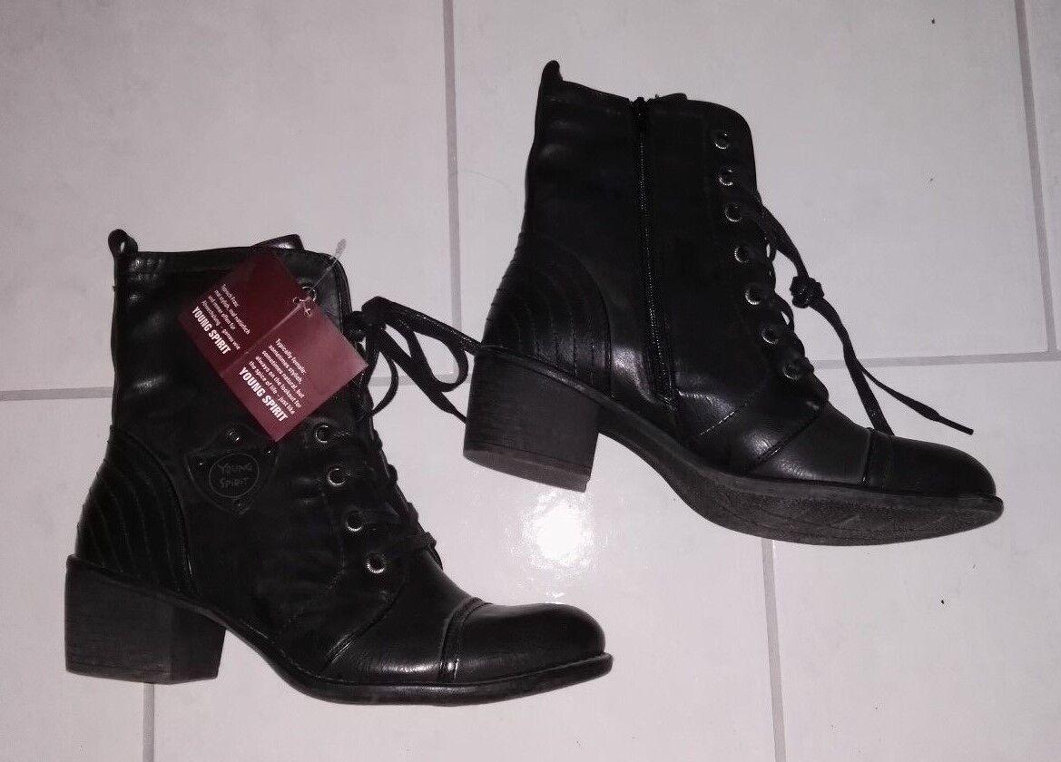 Young Spirit Stiefel Gr. 41 schwarz Stiefeletten mit Schnürung NEU Winterstiefel