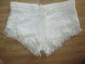 d838efbbb3 NEW✿ Surf Gypsy CROCHET SHORTS M Swimsuit Bikini Coverup White ...
